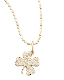 Sydney Evan Small Diamond Clover Pendant Necklace