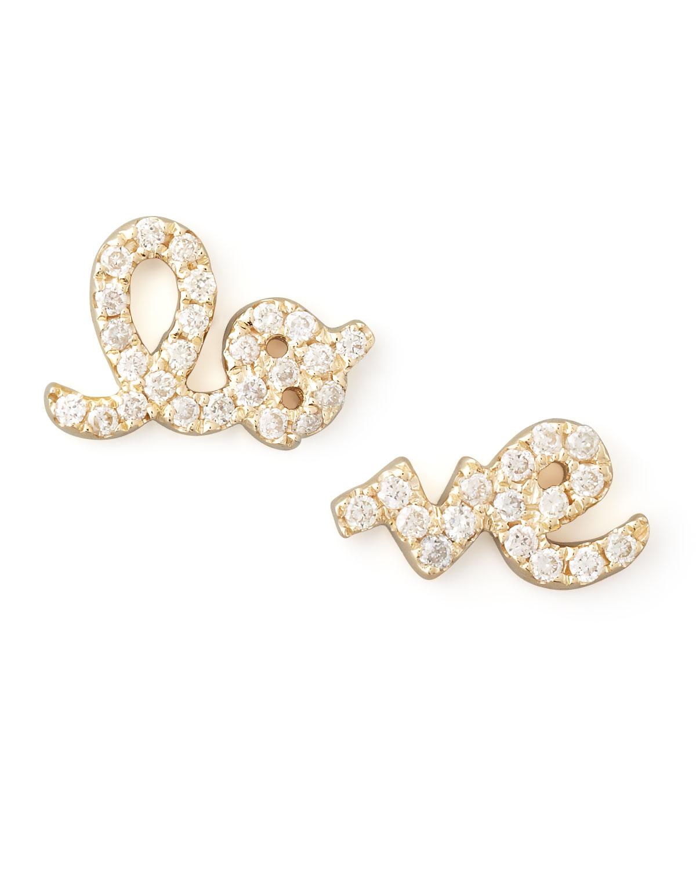 Yellow Gold Diamond Love Stud Earrings   Sydney Evan   Gold