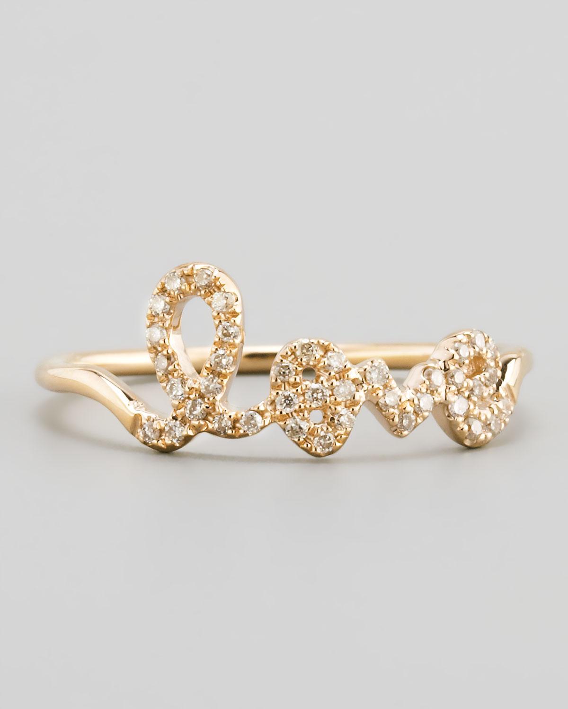 14k Yellow Gold Diamond Love Script Ring   Sydney Evan