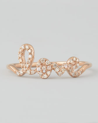 14k Rose Gold Diamond Love Script Ring