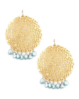 Devon Leigh Pearl & Gold Plate Filigree Earrings