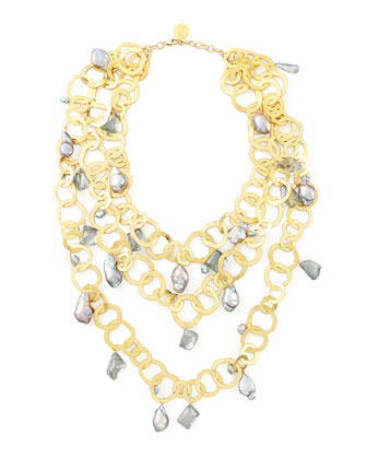 Triple-Strand Flat-Link Pearl Necklace