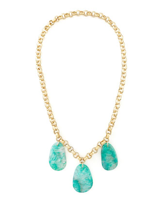 Aqua Agate Station Necklace, 32
