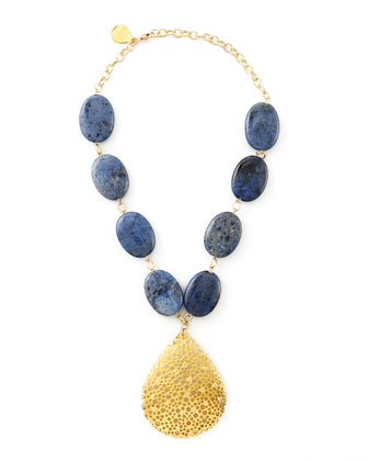 Perforated Teardrop Lapis Necklace