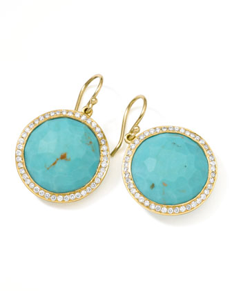 Gold Rock Candy Lollipop Diamond Turquoise Earrings