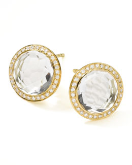 Ippolita 18K Gold Lollipop Stud Earrings, Clear Quartz with Diamonds
