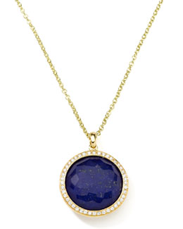 Ippolita Rock Candy 18k Gold Lollipop Diamond Pendant Necklace, Lapis
