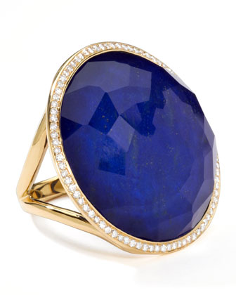 Rock Candy 18k Gold Large Lollipop Diamond Ring, Lapis