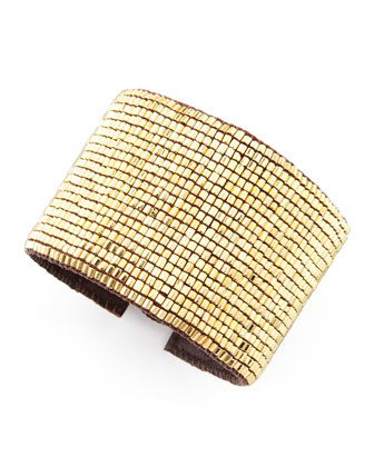 Beaded Leather Cuff, Golden