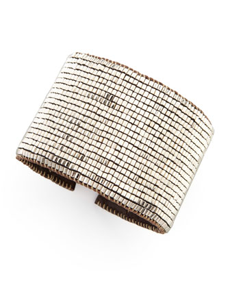Beaded Leather Cuff, Gunmetal