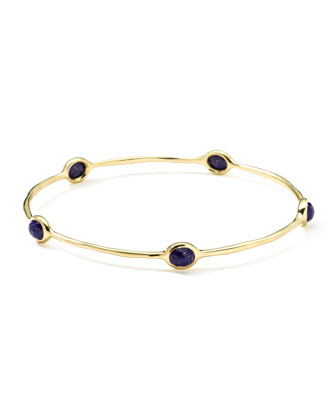 18k Gold Rock Candy Oval Lapis Bangle