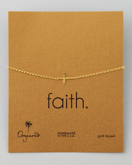 Dogeared Faith Golden Integrated Small Cross Bracelet