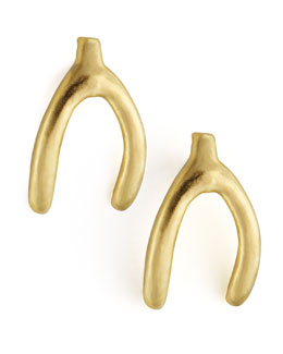 Dogeared Golden Wishbone Stud Earrings