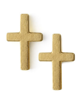 Dogeared Golden Cross Stud Earrings