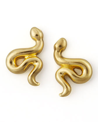 Golden Snake Stud Earrings