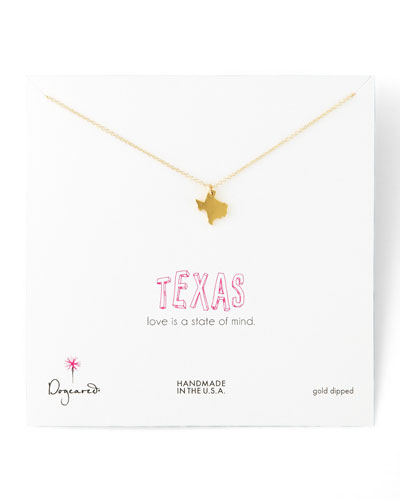 Dogeared Golden Texas State Charm Necklace