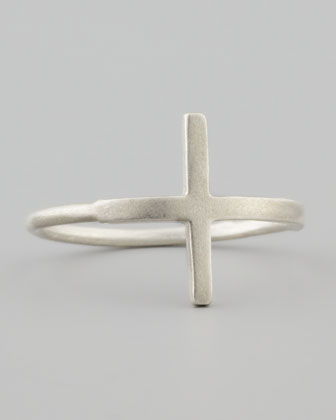 Silver Faith Large Cross Ring