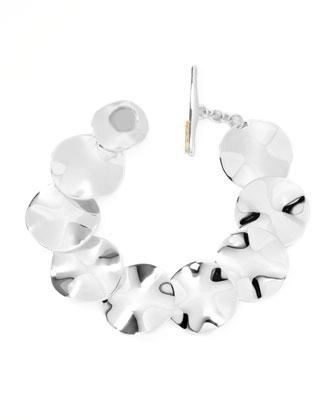 Sterling Silver Scultura Wavy Disc Bracelet