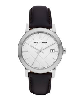 Burberry Sunray White Dial Check Watch with Leather Strap