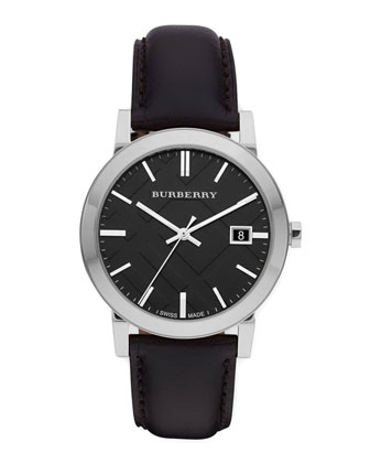 Sunray Black Dial Check Watch with Leather Strap
