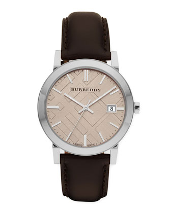 Sunray Brown Dial Check Watch with Leather Strap
