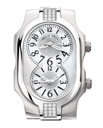 Small Stainless Steel Signature Sport Double 24-Diamond Watch Head & 20mm ...
