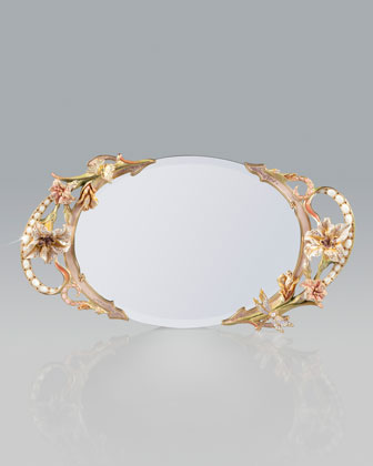 Floral and Scroll Mirrored Tray