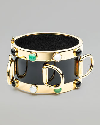 Inlaid D-Ring Cuff Bracelet