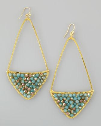 Beaded Kite Hoop Earrings, Turquoise