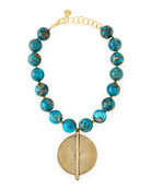 Chunky Turquoise Beaded Pendant Necklace