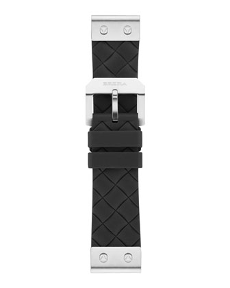22mm Black Woven Silicone Strap, Stainless
