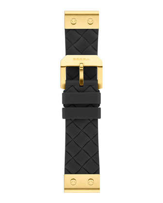 22mm Black Woven Silicone Strap, Golden