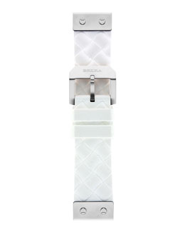 Brera 22mm White Woven Silicone Strap, Stainless