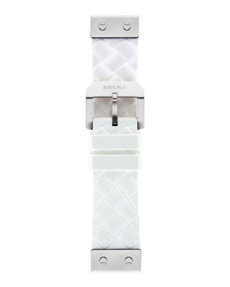 22mm White Woven Silicone Strap, Stainless