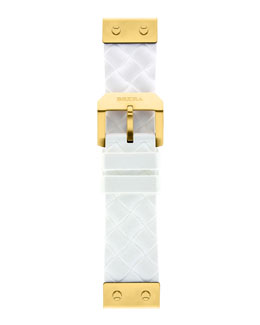 Brera 22mm White Woven Silicone Strap, Golden