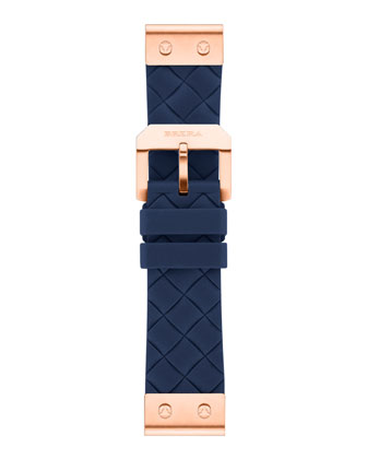 22mm Navy Woven Silicone Strap, Rose Golden