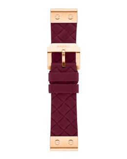 Brera 22mm Burgundy Woven Silicone Strap, Rose Golden