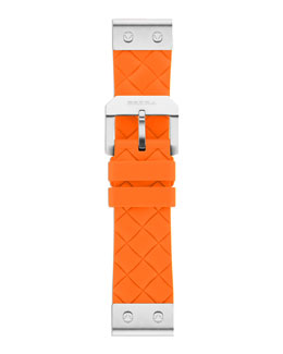 Brera 22mm Papaya Calfskin Strap, Stainless