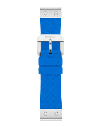 22mm Turquoise Woven Silicone Strap, Stainless