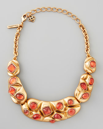 Geometric Cabochon Bib Necklace, Melon
