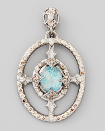 New World Oval Opal/Topaz Diamond Pendant