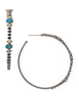 New World Multi-Stone Hoop Earrings