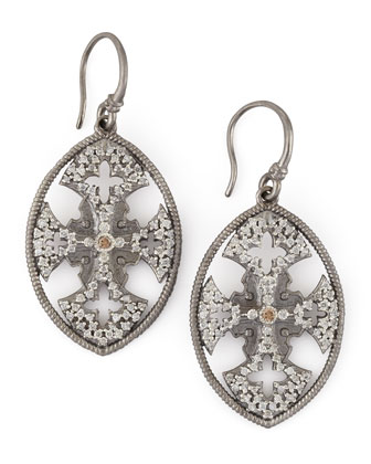 New World Diamond Maltese Cross Shield Earrings