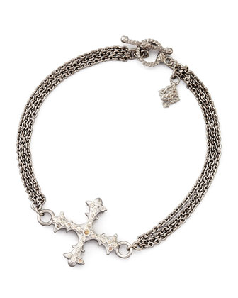 New World Diamond Cross 3-Strand Chain Bracelet