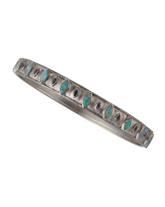 New World Opal & Blue Sapphire Wide Bangle
