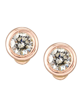 18k Rose Gold Diamond Stud Earrings