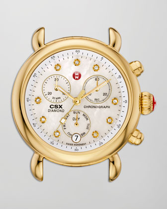 CSX-36 Diamond-Dial Chronograph Watch Head & Bracelet, Golden