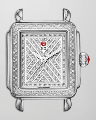 Limited Edition Deco Diamond-Dial Watch Head, 18mm Deco Diamond Bracelet ...