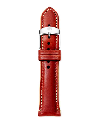 20mm Leather Watch Strap, Red/Tan
