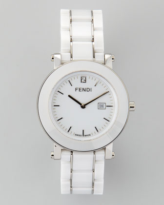 Ceramic Stainless Steel Round Watch, White